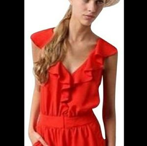 Mini V neck pockets Ruffled Red Romper size 6